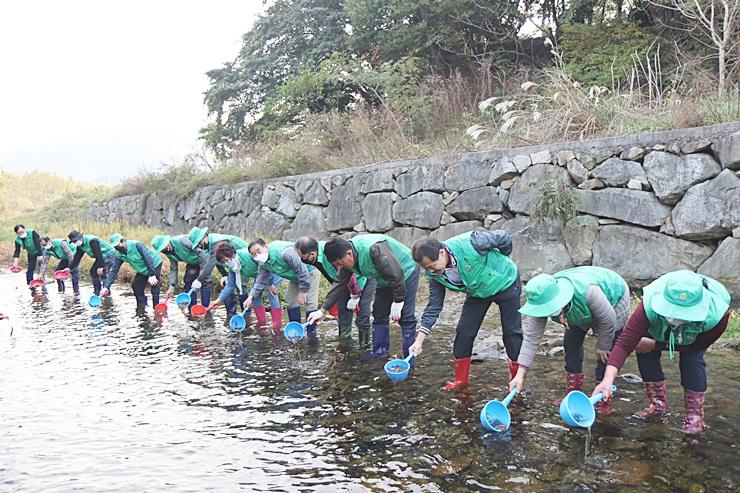 전남 여수시협의회, 생태계 복원을 위해 미꾸라지 방류