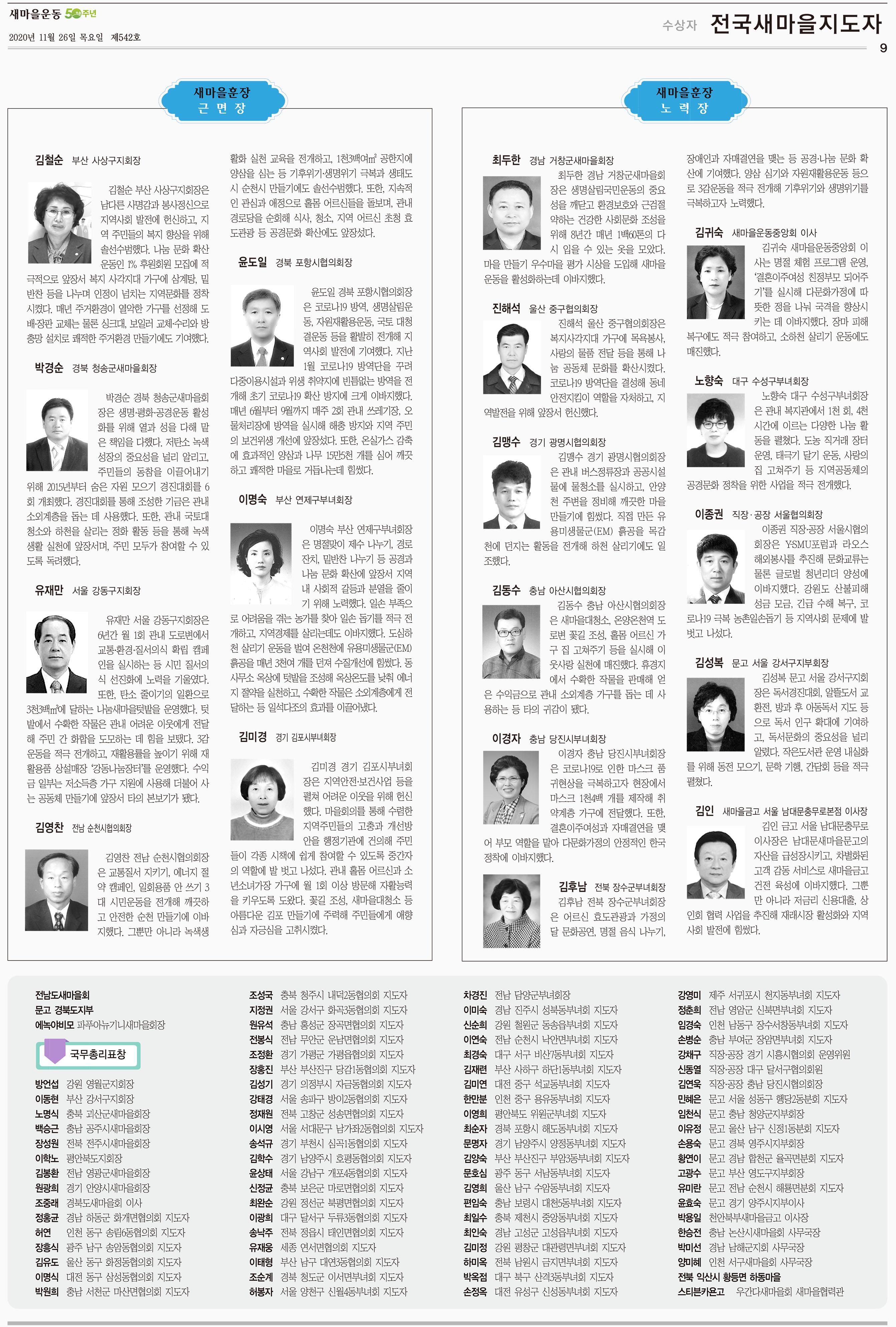 2020 전국새마을지도자 포상 명단